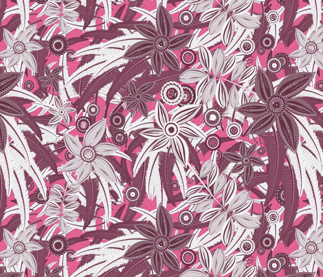 floral pink fabric by kociara on Spoonflower - custom fabric
