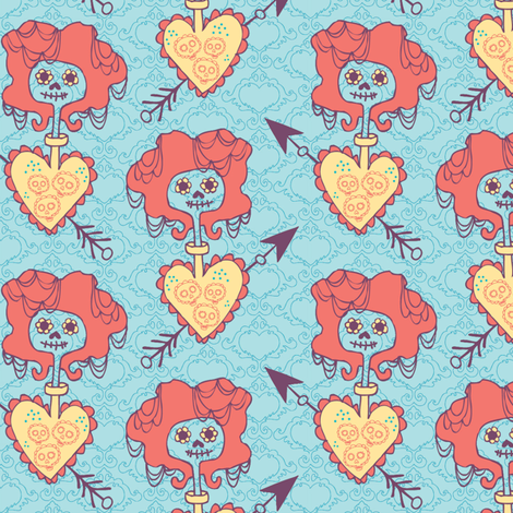 valentine skellies fabric by skellychic on Spoonflower - custom fabric
