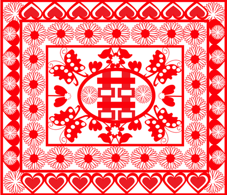 SOOBLOO_CHINESE_PAPER_CUTTING_TWO-01 fabric by soobloo on Spoonflower - custom fabric