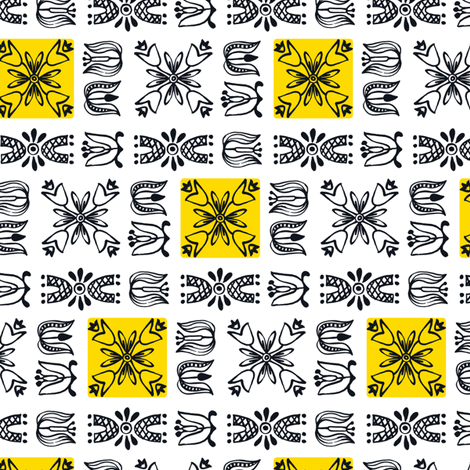 Dutch Garden - yellow fabric by sara_smedley on Spoonflower - custom fabric