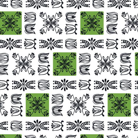 Dutch Garden - Green fabric by sara_smedley on Spoonflower - custom fabric