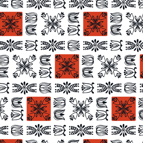 Dutch Garden - red fabric by sara_smedley on Spoonflower - custom fabric