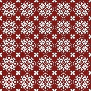 Burgundy Floral Tiles
