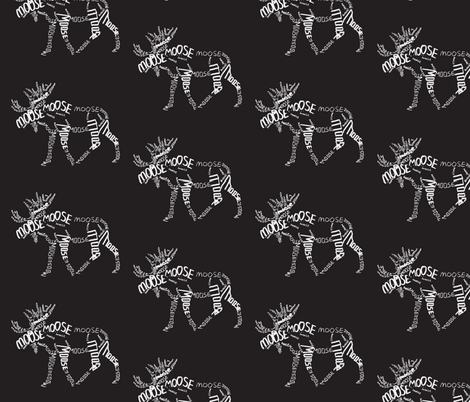 Moose Calligram white on black fabric by blue_jacaranda on Spoonflower - custom fabric