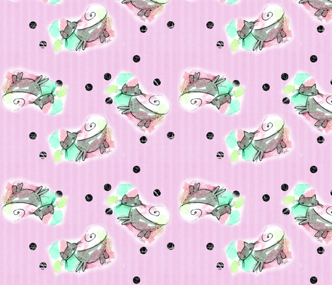 Watercolor Cat Fabric No.1 fabric by xangetsu_studio on Spoonflower - custom fabric
