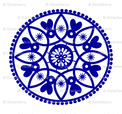 blue paper doily