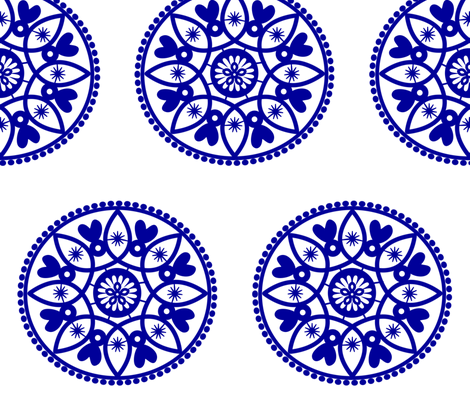 blue paper doily fabric by stickelberry on Spoonflower - custom fabric