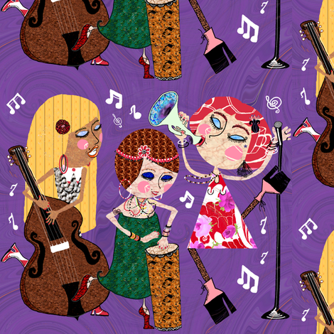 The Jazzy Jezebels, purple fabric by amy_g on Spoonflower - custom fabric