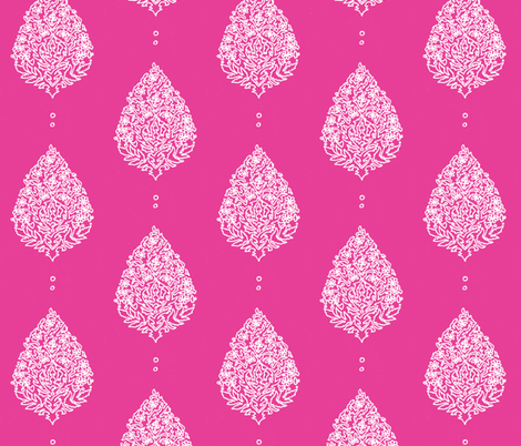 Moroccan Paisley Fuschia and white fabric by lisakling on Spoonflower - custom fabric