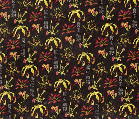 Carnivorous plants invertred fabric by craftyscientists on Spoonflower - custom fabric