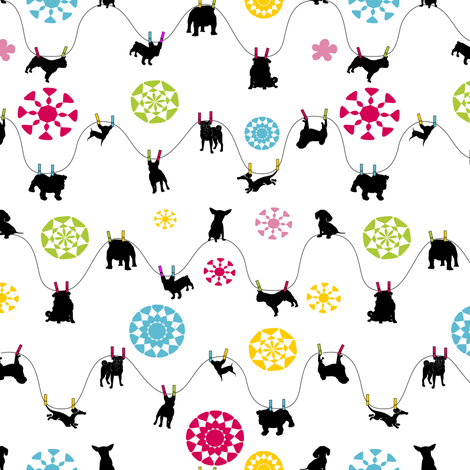 doggies hanging 'dry' - white fabric by lil_creatures on Spoonflower - custom fabric