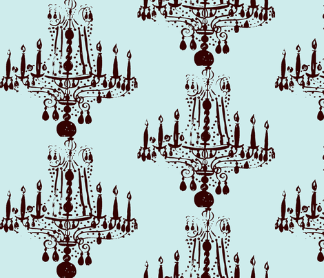 035-ed Chandelier in blue fabric by chiarandco on Spoonflower - custom fabric