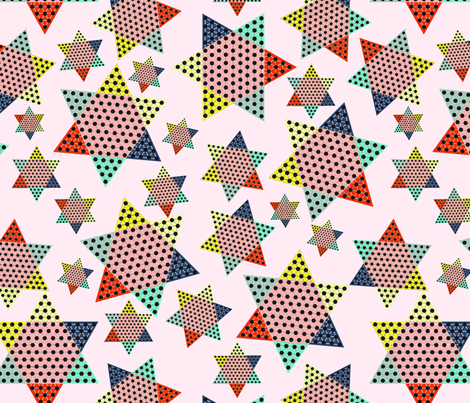 Chinese Checkers on pink fabric by susiprint on Spoonflower - custom fabric