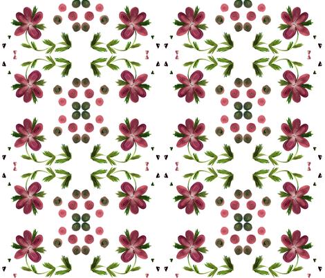 BurgandyPrettyFloralHeartDot fabric by suechisholm on Spoonflower - custom fabric