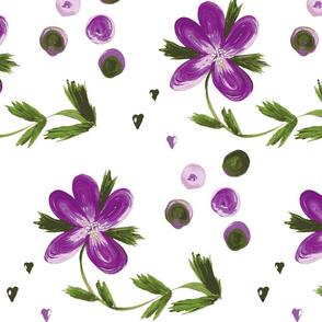 Purple Floral Dots