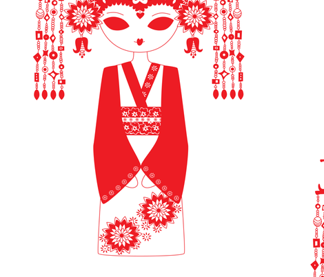 china girl  fabric by birdonherhead on Spoonflower - custom fabric