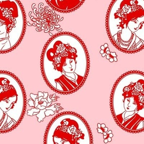 Chinese Paper Cameos (strawberry)
