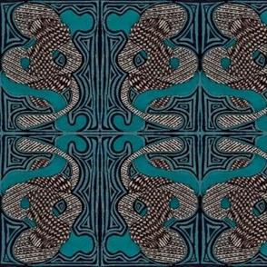elephants in blue teal