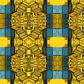 yellow and blue weave