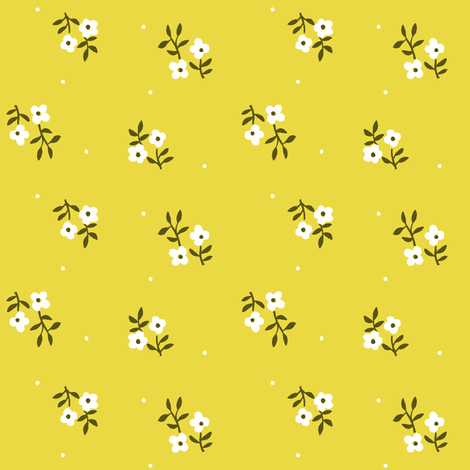 Tiny Blossoms | Chartreuse fabric by imaginaryanimal on Spoonflower - custom fabric