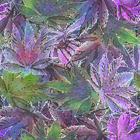 Purple Indica 420 Leaves (R) fabric by camomoto on Spoonflower - custom fabric