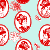 Chinese Paper Cameos (light teal)