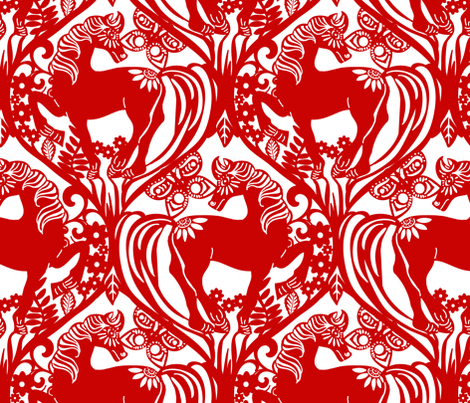 Oh Gee! It's the Year of the Horse! fabric by shellypenko on Spoonflower - custom fabric