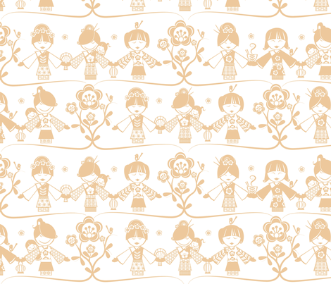 China Doll, neutral fabric by mulberry_tree on Spoonflower - custom fabric