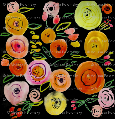 Watercolor Poppies on Black