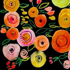 Watercolor Poppies // Black