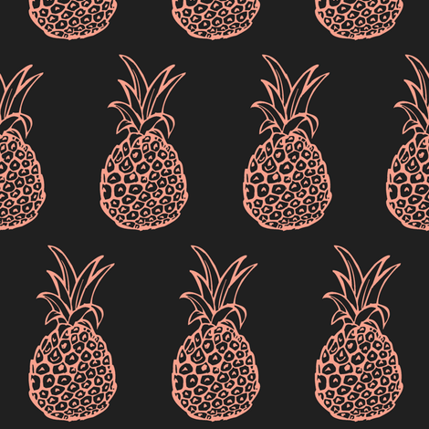 Pineapple Party in Coral Pink and Charcoal Grey fabric by theartwerks on Spoonflower - custom fabric