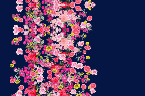 Hot Pink Floral Stripe on Navy Blue fabric by theartwerks on Spoonflower - custom fabric