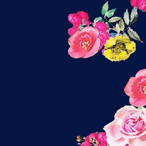 Hot Pink Floral Stripe on Navy Blue