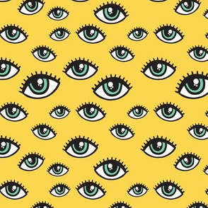 Eyes pattern. Yellow background.