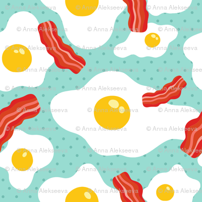 Fried egg and bacon pattern. Breakfast food design. Blue background.