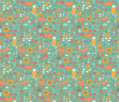Sweet autumn. Fox and cat.  fabric by kostolom3000 on Spoonflower - custom fabric