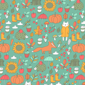 Sweet autumn. Fox and cat.