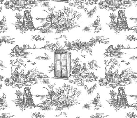 police boxes Toile de Jouy grey fabric by debi_birkin on Spoonflower - custom fabric