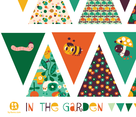bunting in the garden fabric by bora on Spoonflower - custom fabric
