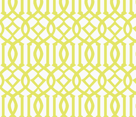 Imperial Trellis-Citron/White-Reverse-Large fabric by mrsmberry on Spoonflower - custom fabric