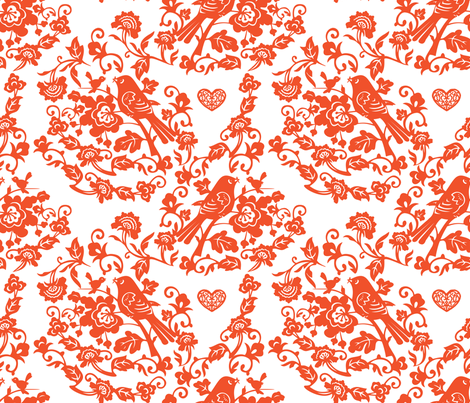 spring_birds_chinese_papercut fabric by lilliblomma on Spoonflower - custom fabric