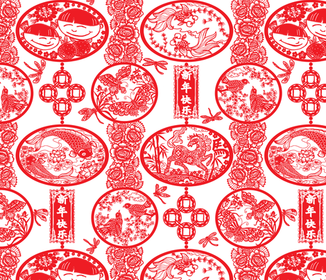 Chinese New Year Lanterns 2014 fabric by helenpdesigns on Spoonflower - custom fabric