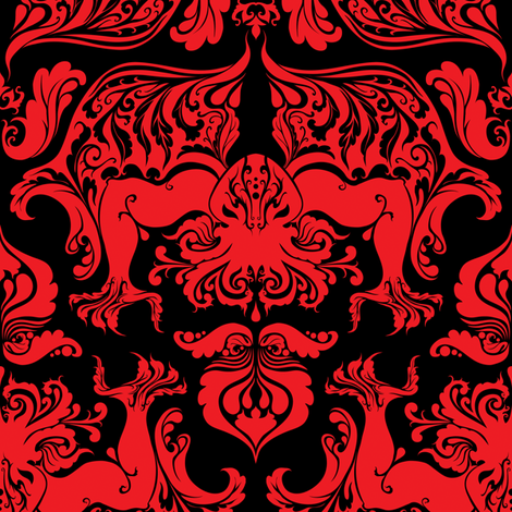 I Love Craft (Cthulhu Damask) in Red and Black fabric by rosalarian on Spoonflower - custom fabric