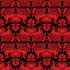 I Love Craft (Cthulhu Damask) in Red and Black