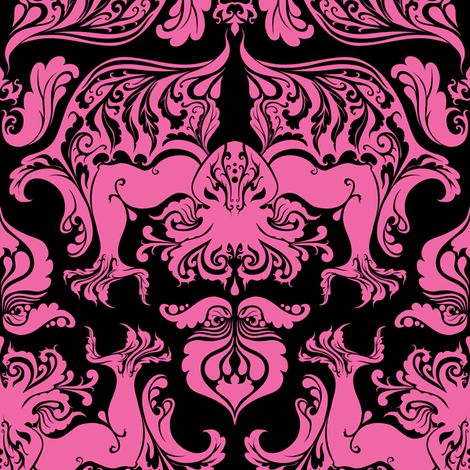 I Love Craft (Cthulhu Damask) Pink and Black fabric by rosalarian on Spoonflower - custom fabric