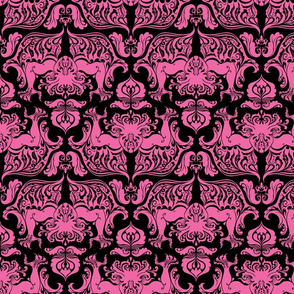I Love Craft (Cthulhu Damask) Pink and Black