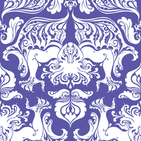 I Love Craft (Cthulhu Damask) White and Purple fabric by rosalarian on Spoonflower - custom fabric
