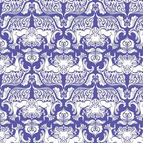 I Love Craft (Cthulhu Damask) White and Purple