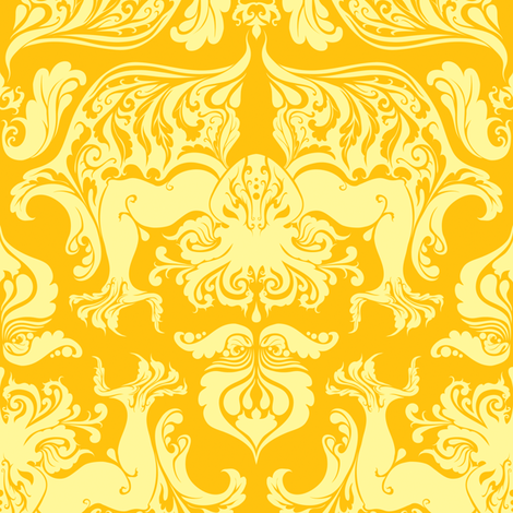 I Love Craft (Cthulhu Damask) Yellow fabric by rosalarian on Spoonflower - custom fabric