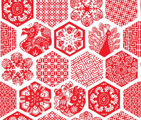 Chinese Paper Cuttings fabric by tonia_dee on Spoonflower - custom fabric